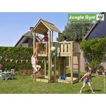 jungle gym Spielturm Jungle Mansion mit roter Feuerwehr-Rutschstange