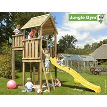 jungle gym Spielturm Jungle Palace mit langer Wavy Star Rutsche mit Wasseranschluss gelb