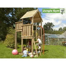 jungle gym Spielturm Jungle Palace mit roter Feuerwehr-Rutschstange
