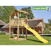 jungle gym Spielturm Jungle Shelter mit langer Wavy Star Rutsche mit Wasseranschluss gelb