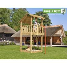 jungle gym Spielturm Jungle Shelter mit roter Feuerwehr-Rutschstange