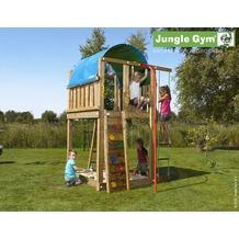 jungle gym Spielturm Jungle Villa mit roter Feuerwehr-Rutschstange