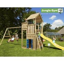 jungle gym Spielturm Palace Spielhaus & 2-Schaukel mit langer Wavy Star Rutsche mit Wasseranschluss gelb