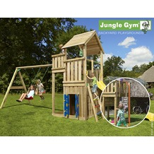jungle gym Spielturm Palace Spielhaus & 2-Schaukel mit roter Feuerwehr-Rutschstange