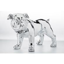 Kare Design Deko Figur Bulldogge Silver Eco 42cm
