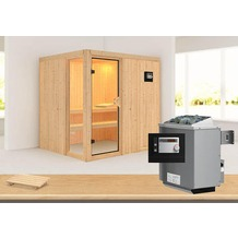 """Karibu Sauna """"Palin"""" SET mit Ofen 9 kW ext. Strg. modern"""