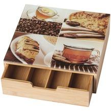 Kesper Box mit Schublade Bambus 30 x 31 x 9,5 cm, mit 4 Fächern