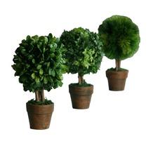 Kunstpflanzen Mini Kugelbäume Höhe ca. 20 cm, 3er-Set