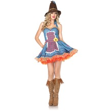 Leg Avenue 2Pc. Sunflower Scarecrow Costume Set With Dress With Burlap Straw Back Ruffle And Hat blue 38-40