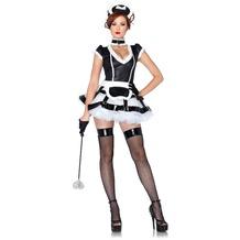 Leg Avenue 3Pc. Costume Set Mistress Maid, Apron Dress With Cage Skirt, Choker And Headband black/white 38-40