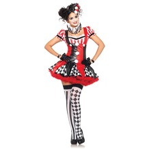 Leg Avenue 3Pc. Harlequin Clown Costume Set With Suspender Dress, Ruffle Neck Piece, Hat black/red 40