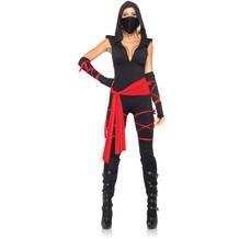 Leg Avenue 5Pc. Costume Set Deadly Ninja, Catsuit, Waist Sash, Arm Warmers, Mask, Leg Wraps black/red 40
