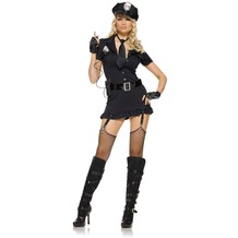 Leg Avenue 6Pc. Dirty Cop Costume Set With Hat, Dress, Gloves, Belt, Tie And With Walkie Talkie black 38-40
