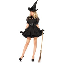 Leg Avenue 3Pc. Bewitching Witch, Includes Vintage Inspired Dress With Organza And Velvet Collared Bodice, Wide Belt, And Matching Hat black 40