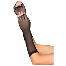 Leg Avenue Elbow Length Micro Net Fingerless Gloves BLACK one size