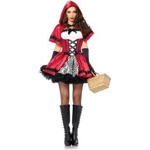 Leg Avenue 2Pc. Gothic Red Riding Hood, Includes Satin And Brocade Peasant Dress With Woven Ribbon Venetian Lace Trim And Matching Hooded Cape red/white 40