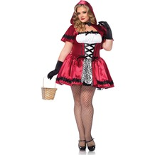 Leg Avenue 2Pc. Gothic Red Riding Hood, Includes Satin And Brocade Peasant Dress With Woven Ribbon Venetian Lace Trim And Matching Hooded Cape red/white 44-46