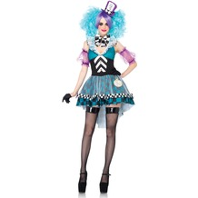 Leg Avenue 4Pc. Manic Mad Hatter, Includes High/Low Halter Dress With Checkerboard Skirt And Embroidered Clock Appliqué, Bow Chocker, Sheer Puff Sleeves, And Matching Headband black/l.blue 40