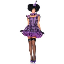 Leg Avenue 3Pc. Pretty Parisian Clown, Includes Dress With Organza Tiered Skirt, Ruffle Neck Piece, And Matching Hat black/purple 38-40