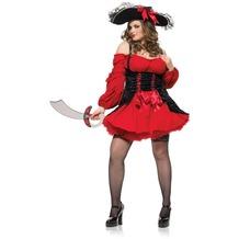 Leg Avenue Velvet Double Lace Up Corset Dress red/black 44-46