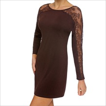 LingaDore ZITA, Dress langärmelig Eyelash Lace, braun M