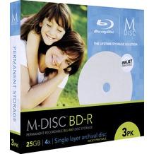 Millenniata BD-R M-DISC 25GB/1-4x Slimcase (3 Disc) Archivmedium, 1.000 Jahre, InkJet Printable, White Fullsize Surface