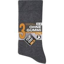 nur der Herren Ohne Gummi Socken 3er -346 graumel. 39-42