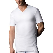 nur der T-Shirt 100% Cotton V-Ausschnitt Tisch Doppelpack weiß 5 = M