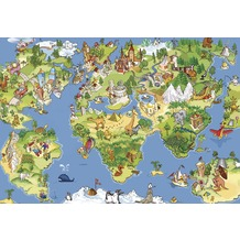 papermoon VLIES Fototapete 5 Bahnen, Digitaldruck Kids World Map, Tapetenbahn 50cm, Spezial TapetenVlies Material, made in Germany. 250 x 180 cm
