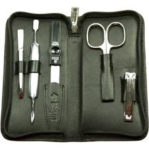 Pfeilring Maniküreetui Fünfteiliges Manikür-Set aus schwarzem Kalbleder mit Nagelfeile, schräger Pinzette