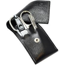 Pfeilring Taschenetui Dreiteiliges Manikür-Set aus Rindleder Argentina schwarz Mit Nagelfeile Schwarz- 9 cm, Pinzette schräg venickelt