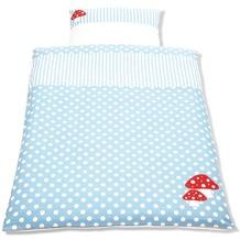 Pinolino Bett- und Kopfkissenbezug für Kinderbetten Glückspilz hellblau