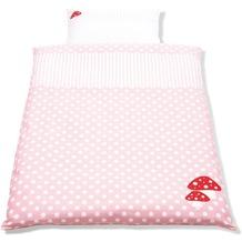 Pinolino Bett- und Kopfkissenbezug für Kinderbetten Glückspilz rosa