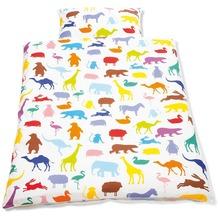 Pinolino Bett- und Kopfkissenbezug für Kinderbetten Happy Zoo weiß/bunt