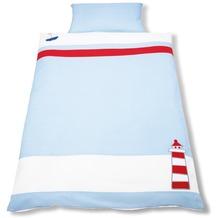 Pinolino Bett- und Kopfkissenbezug für Kinderbetten Schiff Ahoi blau