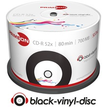 PRIMEON CD-R 80Min/700MB/52x Cakebox (50 Disc) black-vinyl-disc Surface, Inkjet Printable