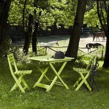 PROGARDEN Camping-Set limegrün bestehend aus: 2x Stuhl Birki +1 x Tisch Tevere, klappbar