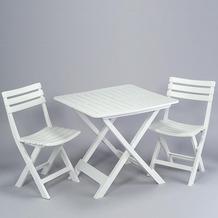 PROGARDEN Camping-Set weiss bestehend aus: 2x Stuhl Birki +1 x Tisch Tevere, klappbar