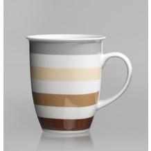 Flirt by R&B Kaffeebecher Porzellan 8x8x10cm konisch 320ml STONE STRIPES grau braun beige