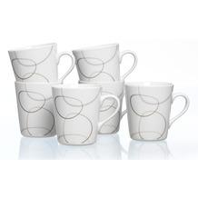 Flirt by R&B Kaffeebecher Porzellan 9x9x10cm konisch 300ml ALINA braun grau