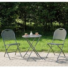 Siena Garden Balkon-Set Mocca eisengrau, bestehend aus: 2 Klappsessel, 1 Tisch Ø 60 cm
