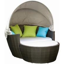 Siena Garden Sofabett Hawaii, Aluminium-Untergestell, Gardino®-Geflecht titan, bestehend aus: Sofa- und Anstellbett, Dekokissen 100% Polyester 2 x apfelgrün, 2 x türkis