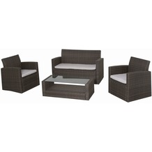 Siena Garden Lounge-Set Parla, Stahl-Untergestell, Gardino®-Geflecht mocca, bestehend aus: 2 x Sessel, 1 x Bank, 1 x Tisch L 50 x B 108 cm