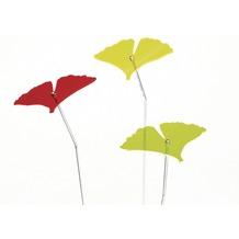 Siena Garden Set Sonnenfänger Gingkoblatt, 3-teilig, Acrylglas / Metall, grün, gelb, rot 11x16,5x96cm