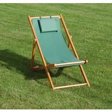 Siena Garden Strandliegestuhl Faro, Gestell Hartholz, Stoffbezug grün, L 110 x B 58 x H 90 cm