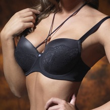 signature Padded bra Joan Lace & Leather look black 100D