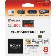 Sony Memory Stick PRO-HG Duo HX  8GB inkl. File Rescue/X-Pict Story Software, Retail-Blister