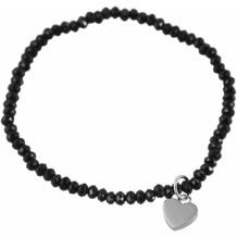 Steinchenarmband mit Edelstahlelement - schwarz
