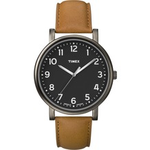 Timex Originals Classic Round Gray IP Case/ Black Dial/ Tan Strap