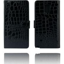 Twins Kunstleder Flip Case für Galaxy Note 4, Kroko, schwarz